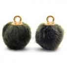 1 Stück Faux Fur PomPom - Olive Grey (Gold)