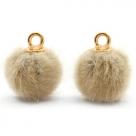 1 Stück Faux Fur PomPom - Camel (Gold)