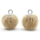 1 Stück Faux Fur PomPom - Camel (Silber)