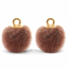 1 Stück Faux Fur PomPom - Red Brown (Gold)