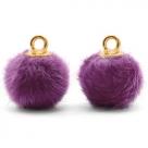 1 Stück Faux Fur PomPom - Purple (Gold)