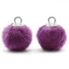1 Stück Faux Fur PomPom - Purple (Silber)