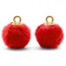 1 Stück Faux Fur PomPom - Red (Gold)