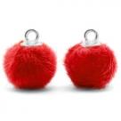 1 Stück Faux Fur PomPom - Red (Silber)