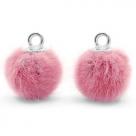 1 Stück Faux Fur PomPom - Vintage Dk Pink (Silber)
