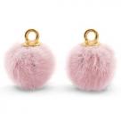 1 Stück Faux Fur PomPom - Vintage Pink (Gold)