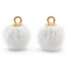 1 Stück Faux Fur PomPom - White (Gold)