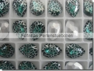 1 Glas-Tropfen Ø 18x13 mm Patina - emerald/silber