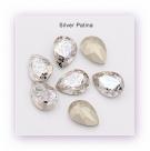 1 Glas-Tropfen Ø 18x13 mm Patina - crystal/silver