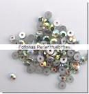 30 Stück Glas-Flatback Xilion Lochrose Ø 3 mm - crystal AB