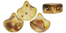 #02.11 - 25 Stück Matubo Ginko Leaf Bead 7.5x7.5mm - Matte - Opaque White - Dark Picasso