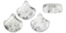 #02.12 - 24 Stück Matubo Ginko Leaf Bead 7.5x7.5mm - Silver Splash - White