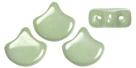 #02.05.01 - 25 Stück Matubo Ginko Leaf Bead 7.5x7.5mm - Chalk White Green Luster - (B-Ware)