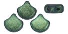 #03.17 - 25 Stück Matubo Ginko Leaf Bead 7.5x7.5mm - Jet Polychrome Mint&Chocolate