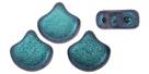 #03.18 - 25 Stück Matubo Ginko Leaf Bead 7.5x7.5mm - Jet Polychrome Blueberry
