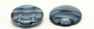 #08.00 5 Stck. 2-Hole Cabochon 18x5mm - Crystal Dk Blue/Opal Marmoriert