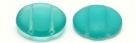 #06.00 5 Stck. 2-Hole Cabochon 18x5mm - Tr Green Turquoise Matte