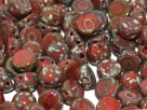 #41a 25 Stck. 2-Hole Cabochon 6mm Red Picasso