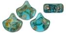 #05.00 - 25 Stück Matubo Ginko Leaf Bead 7.5x7.5mm - Aquamarine - Picasso