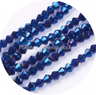 1 Strang Bicone 4 mm metallic blue (100 Stück)