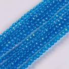 190 facetierte runde Perlen Ø 2mm tr. dk sky blue