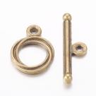 Toggleverschluss - 13x17 mm antik bronzefarben