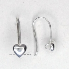 1 Paar Ohrhaken Herz - 18,5 mm - versilbert