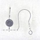 1 Paar Ohrhaken Spirale - 21 mm - versilbert