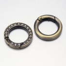 1 Ring-Verschluss Ø 24x4 mm - antik-bronzefarben mit Strasssteinen