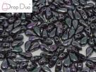 #03.06 - 25 Stück DropDuo Beads 3x6 mm - Jet Full Apricot Med