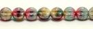 25 Stück Perlen Melone - Ø 6mm Opaque Red/Multicolor Hematite Coating