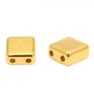 1 Stck. 2-Hole Metallperle ca. 6mm (Ø1mm) gold-farben, vergleichbar mit Tile Bead