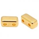 1 Stck. 2-Hole Metallperle ca. 6x3mm (Ø1mm) gold-farben, vergleichbar mit Brick Bead
