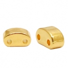 1 Stck. 2-Hole Metallperle ca. 6x3mm (Ø1mm) gold-farben