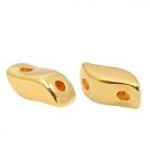 1 Stck. 2-Hole Metallperle ca. 7x3mm (Ø1mm) gold-farben, vergleichbar mit StormDuo Bead