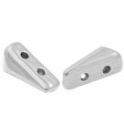 1 Stck. 2-Hole Metallperle ca. 9x5mm (Ø1mm) antiksilber-farben, vergleichbar mit Vexolo Bead