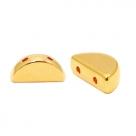 1 Stck. 2-Hole Metallperle ca. 10x5mm (Ø1mm) gold-farben, vergleichbar mit Semi Circle Beads