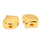1 Stck. 2-Hole Metallperle ca. 7mm (Ø1mm) gold-farben, vergleichbar mit Ginko Bead