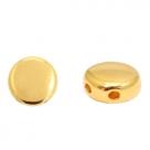 1 Stck. 2-Hole Metallperle ca. 6mm (Ø1mm) gold-farben, vergleichbar mit DiscDuo Bead