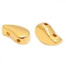 1 Stck. 2-Hole Metallperle ca. 9x5mm (Ø1mm) gold-farben, vergleichbar mit Paisley Bead