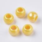 10 Stück Großloch-AcrylPerlen 10x8mm -  Gelb AB