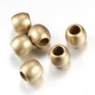 10 Stück Großloch-AcrylPerlen 9x8,5mm -  gold matt