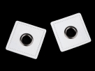 2 Stück - Öse auf Kunstleder-Viereck zum Aufnähen - offwhite/gunmetal