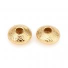 10 Stck. Messing-Abstandsperlen, langlebig plattiert, strukturiert, flach rund, golden, 5x2.5 mm, Bohrung: 1.4 mm