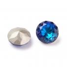 1 Glas-Dentelle/Chaton facetiert mit Blütenmusterung, Ø 10x6 mm - Bermuda Blue - Rückseite foiled