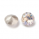 1 Glas-Dentelle/Chaton facetiert mit Blütenmusterung, Ø 10x6 mm - Moonlight - Rückseite foiled