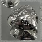 1 Herz 30x30 mm - Plastik silbermetallic - bauchig