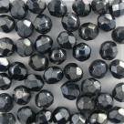 #14.02 25 Stück - 6,0 mm Glasschliffperlen - jet hematit coating