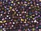 #23 50 Stück - 4,0 mm Glasschliffperlen - jet purple iris