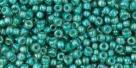 10 g TOHO Seed Beads 11/0 TR-11-1833- Inside-Color Rainbow Lt Sapphire/Opaque Teal Lined (E)